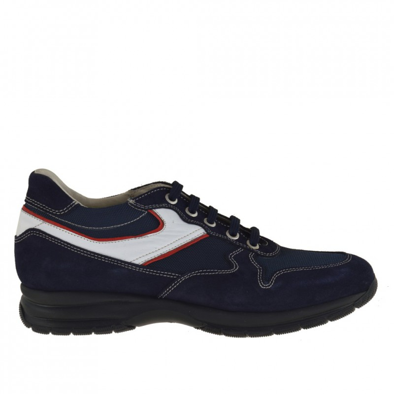 Men sport lace-up shoe in dark blue suede and fabric with trims in white and red leather - Available sizes:  36, 37