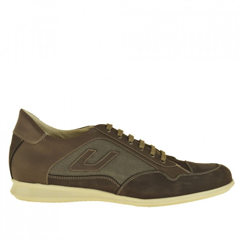 Men sportive lace-up sole in dark beige nubuck leather and fabric - Available sizes:  47
