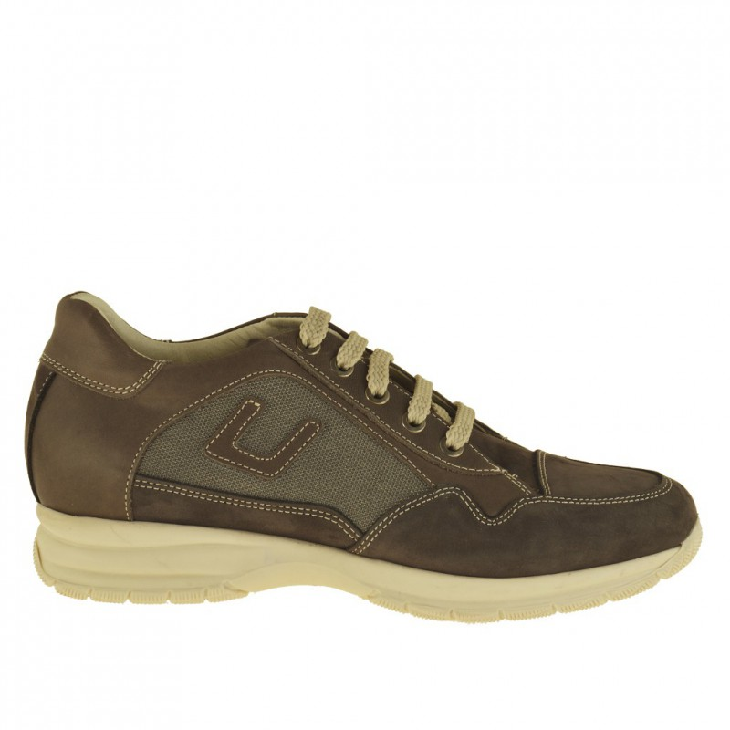 Men's sports lace-up shoe in taupe nubuck leather, leather and fabric - Available sizes:  36, 37