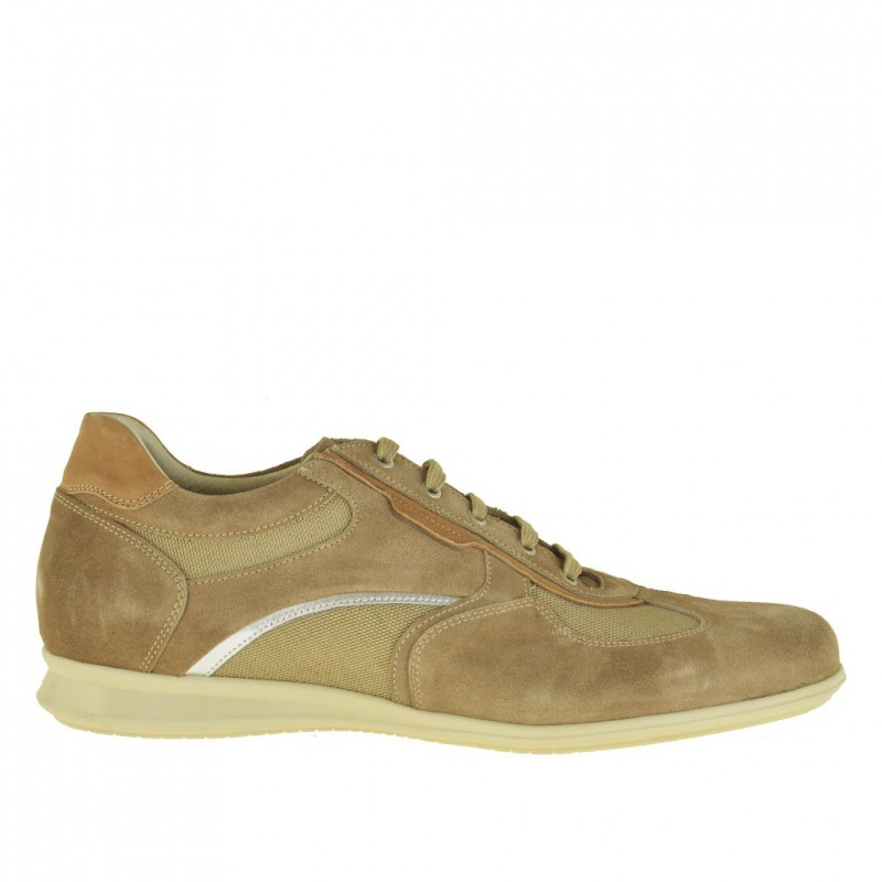 Men's sporty laced shoe in beige suede and fabric - Available sizes:  47