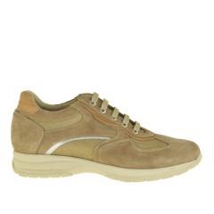 Chaussure sportif avec lacets pour hommes en daim et tissu beige - Pointures disponibles:  36