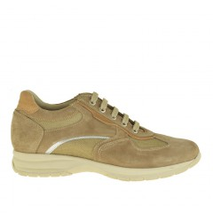 Men sportive lace-up shoes in beige suede and fabric - Available sizes:  36
