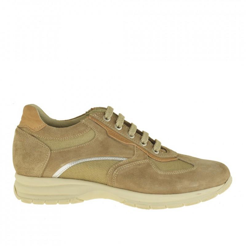 Homme sportif chaussure avec lacets en daim et tissu beige - Pointures disponibles:  36