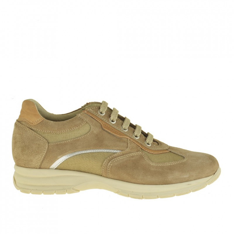 Men's casual lace-up shoe in beige suede and fabric - Available sizes:  36