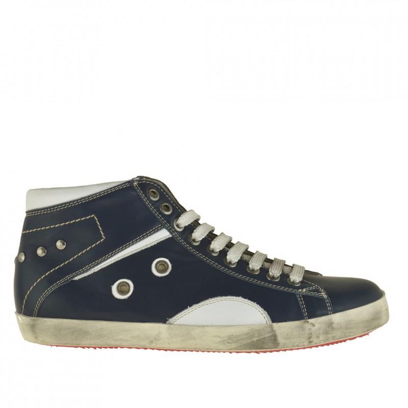 Homme sportif talon haut chaussure avec lacets en cuir bleu foncè et garnitures en cuir blanc - Pointures disponibles:  36, 38, 46