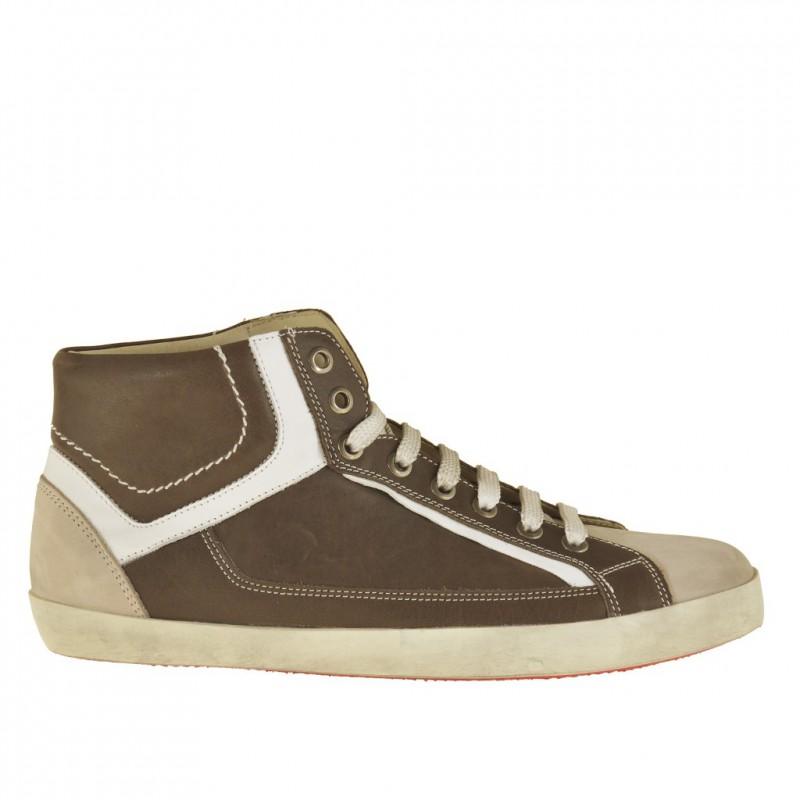 Chaussure pour hommes à lacets en cuir taupe et blanc - Pointures disponibles:  36, 37, 38, 47