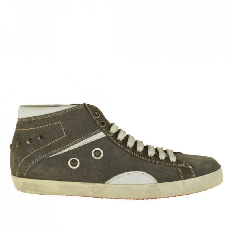 Homme sportif talon haut chaussre avec lacets en daim gris et garnitures en cuir blanc - Pointures disponibles:  51