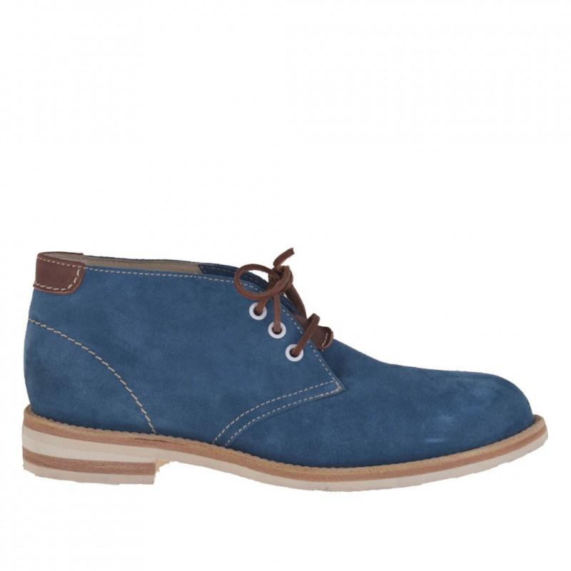 Chaussure sportif pour hommes avec lacets en daim turquoise - Pointures disponibles:  46, 52