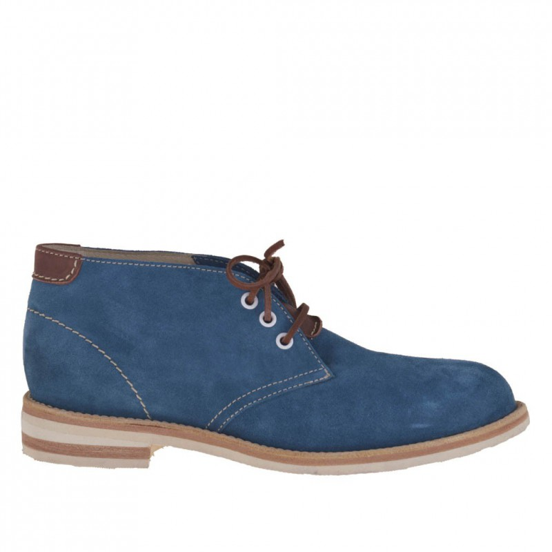 Men sportive ankle shoe with laces in turquoise suede - Available sizes:  46, 52