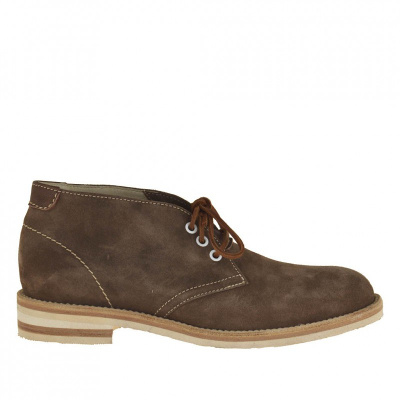 Men sportive ankle shoe with laces in brown suede - Available sizes:  50