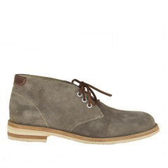 Men sportive ankle shoe with laces in grey suede - Available sizes:  36, 46, 51