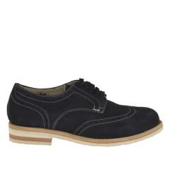 Homme sportif richelieu chaussure avec lacets en daim bleu foncé - Pointures disponibles: 36, 46