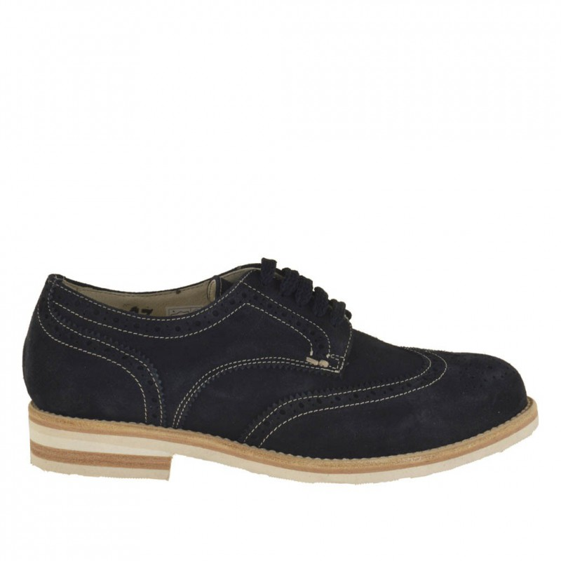 Men's casual laced derby shoe with Brogue wingtip in dark blue suede - Available sizes:  46