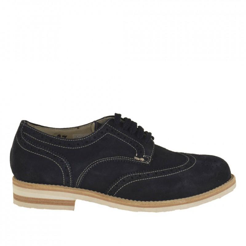 Zapato deportivo derby con cordones y decoraciones Brogue para hombre en gamuza azul oscuro - Tallas disponibles:  46