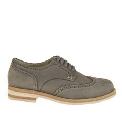 Homme sportif richelieu chaussure avec lacets en cuir nabuk gris - Pointures disponibles: 36, 51