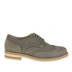 Men sportive brogue shoe with laces in grey nubuck leather - Available sizes:  36, 51