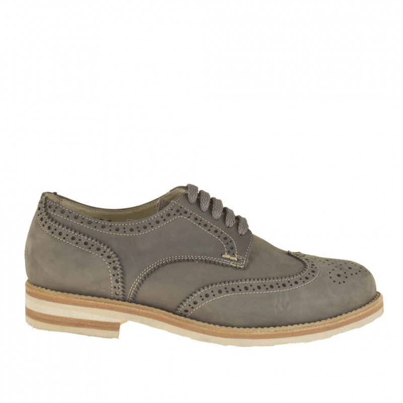 Men sportive brogue shoe with laces in grey nubuck leather - Available sizes:  51