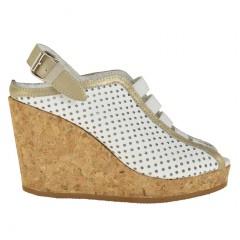 Sandalo da donna accollato con fasce elastiche zeppa in sughero e plateau in pelle forata colore bianco - Misure disponibili: 42