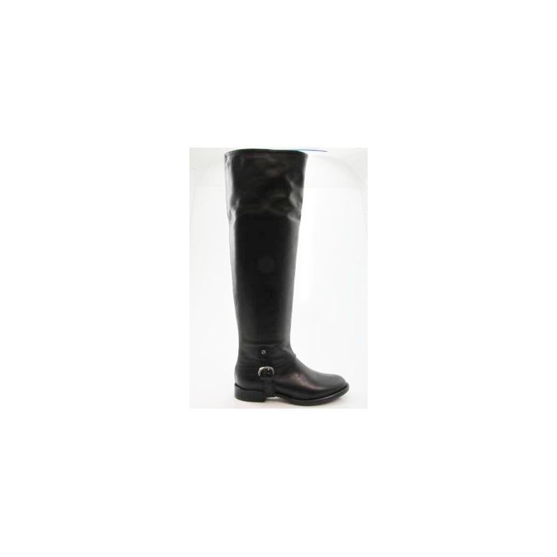 Bottes au genou pour femmes avec fermeture éclair et boucle en cuir noir talon 2 - Pointures disponibles:  32