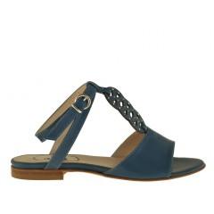 Sandalo da donna con cinturino alla caviglia e strass in pelle colore avio - Misure disponibili: 32