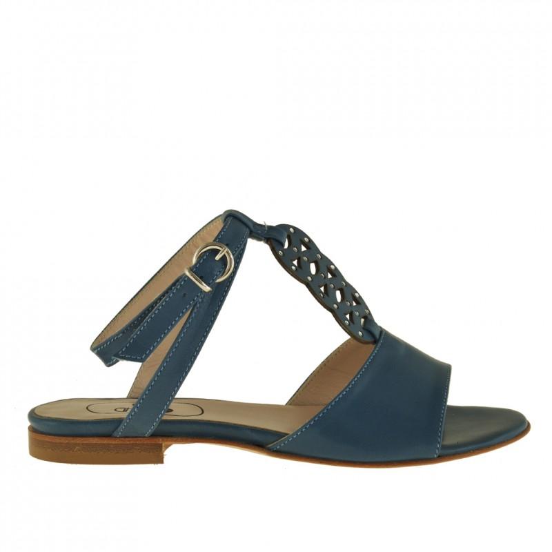 Sandalia con cinturon al tobillo y estrases para mujer en piel de color azul tacon 1 - Tallas disponibles:  32