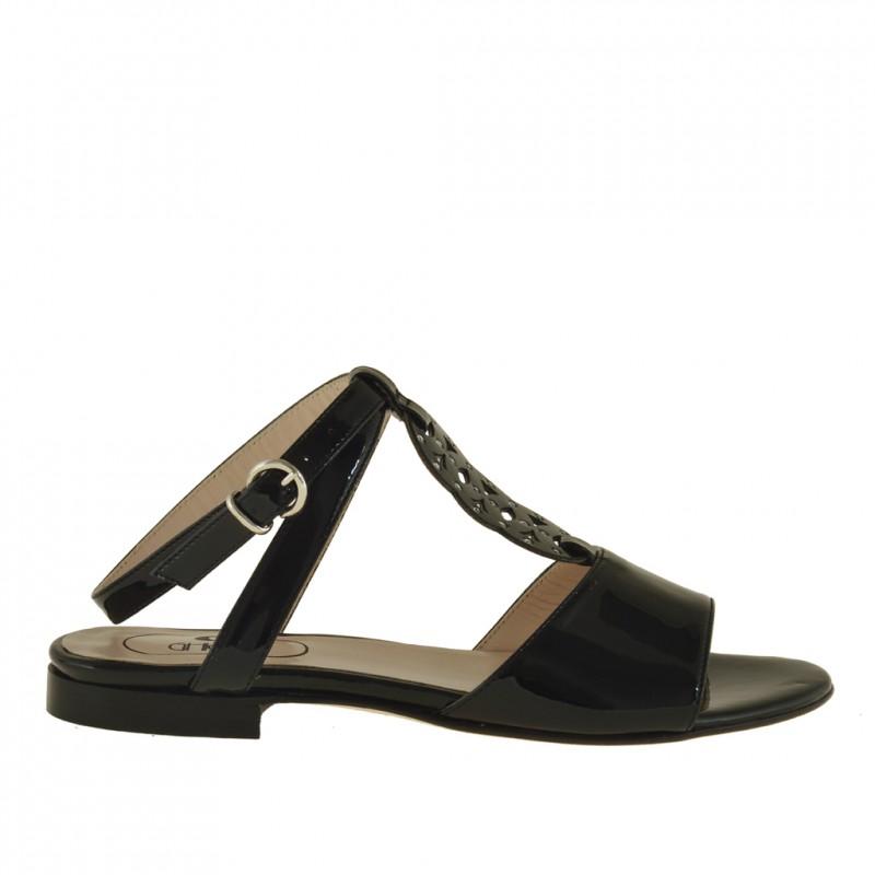 Sandale avec courroie sur la cheville et strass en cuir verni noir talon 1 - Pointures disponibles:  32