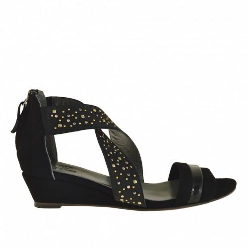 Femme talon compensé ouvert chaussure avec fermeture éclair et strass en daim noir et garniture en cuir verni noir - Pointures disponibles:  32