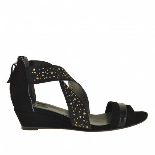 Woman wedge open shoe with zipper and strass in black suede with trims in black patent leather - Available sizes:  32