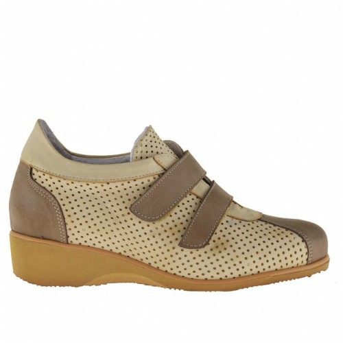 Woman sportive ankle-high shoe with 2 velcrostraps in beige pierced leather and trims in earth tone leather - Available sizes:  45