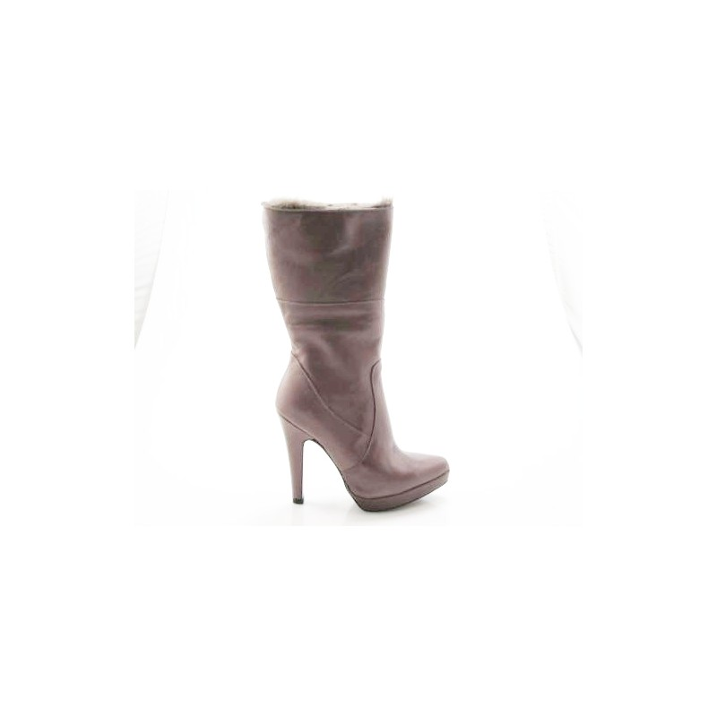 Anklehigh boot with zip and platform in taupe leather - Available sizes: 42