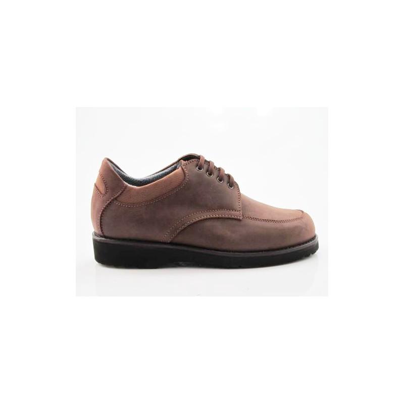 Zapato con cordones para hombres en piel nubuk marron claro - Tallas disponibles:  36, 37