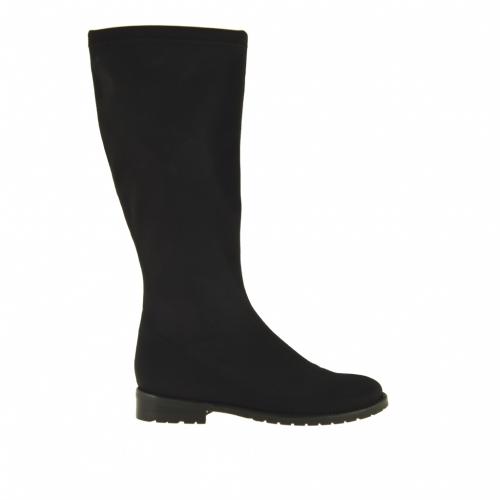 Bottes pour femmes en tissu élastique noir talon 3 - Pointures disponibles:  31
