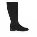 Woman boot in black elastic fabric heel 3