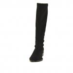 Femme bottines en tissu élastique et étanche noir talon 3 - Pointures disponibles:  31, 32, 33