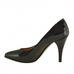 Woman pump in black patent leather with heel 9 - Available sizes:  43