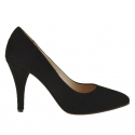 Woman pump in black suede with heel 9