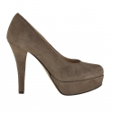 Woman pumps with platform in taupe suede heel 11