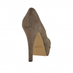 Woman pumps with platform in taupe suede heel 11 - Available sizes:  42