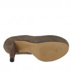 Escarpin à plateforme en daim taupe talon 11 - Pointures disponibles:  42