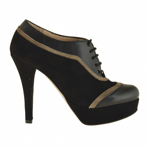 Closed lace shoe with platform in black and taupe suede and leather heel 11 - Available sizes:  42