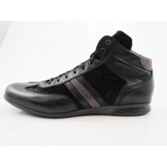 Stringata alta sportiva in pelle e camoscio nero - Misure disponibili: 47