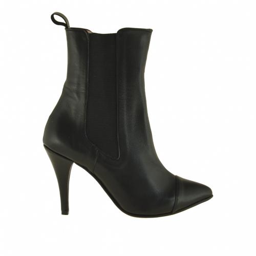 Botines para mujer con bandas elasticas en piel de color negro con tacon 9 - Tallas disponibles:  42