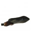 Femme bottines avec 2 bandes élastiques en cuir noir avec talon 9  - Pointures disponibles:  42