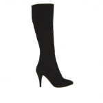 Woman boot with zipper in black suede and 9 cm heel - Available sizes:  31, 32, 42