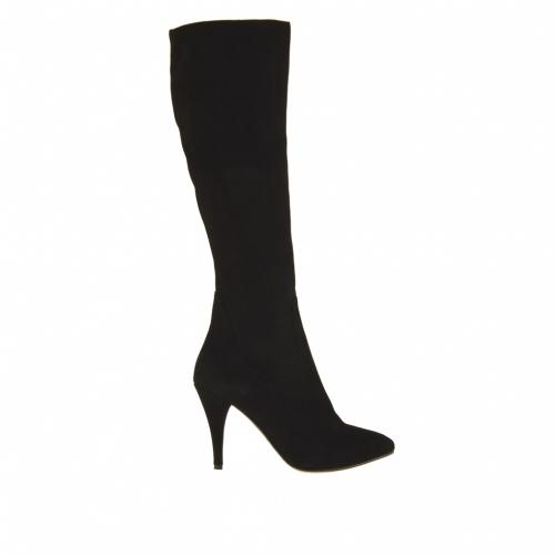Bota para mujer con cremallera en gamuza negra tacon 9 - Tallas disponibles:  31, 42