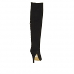 Woman's boot with zipper in black suede heel 9 - Available sizes:  31, 42
