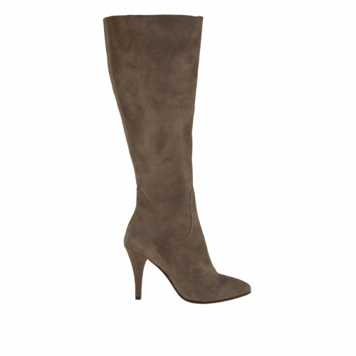 Woman boot with zipper in taupe suede and 9 cm heel - Available sizes:  31, 43