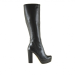 Woman boot with platform and zipper in black leather and with heel 11 - Available sizes:  42