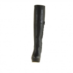 Femme botte avec plateforme et fermeture éclair en cuir noir avec talon 11 - Pointures disponibles:  42