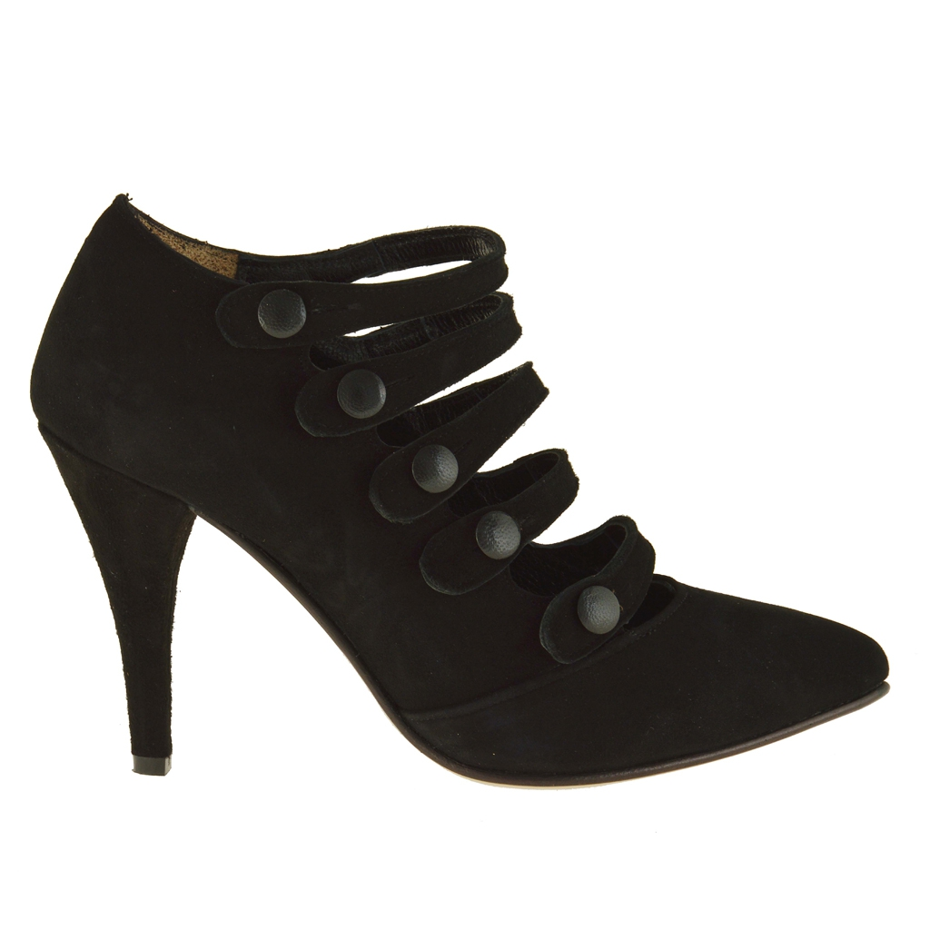 ankle high closed shoe with 5 straps in black suede heel 9